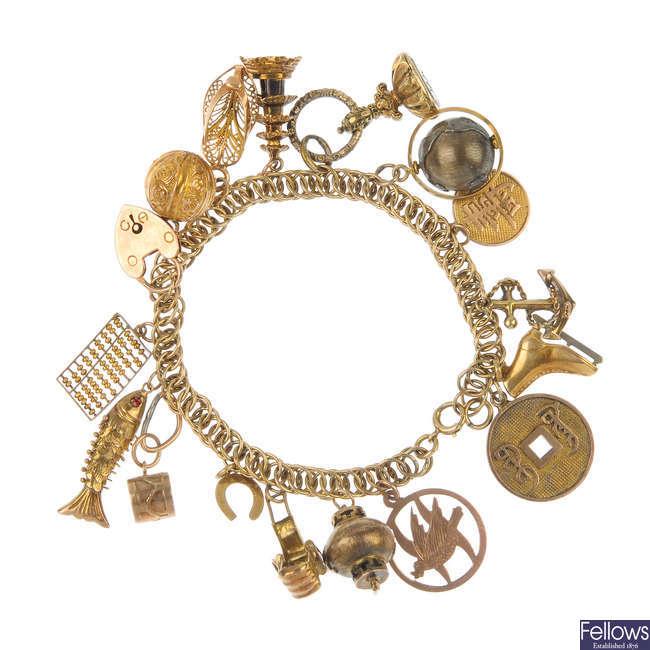 A mid 20th century charm bracelet.
