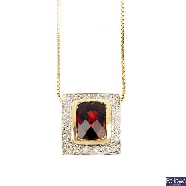 A 9ct gold garnet and diamond pendant.
