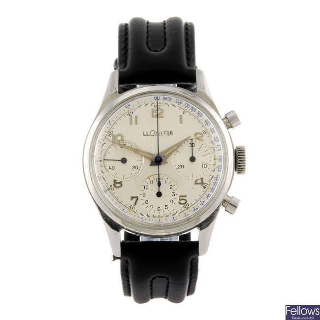 LECOULTRE - a gentleman's stainless steel chronograph wrist watch.