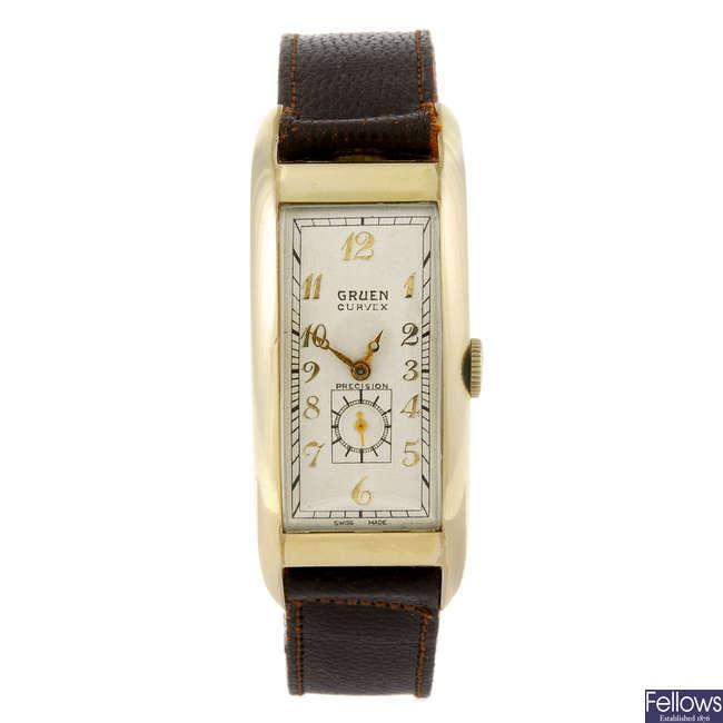 GRUEN - a gentleman's Curvex wrist watch.