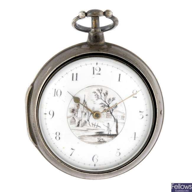 A silver open face pair case pocket watch by B.Clowes.