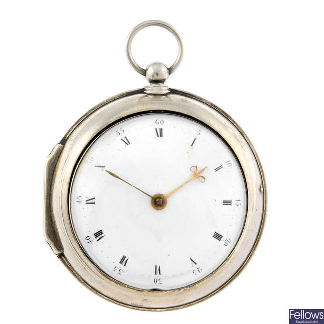 A white metal open face pair case pocket watch by D.G Ingersoll.
