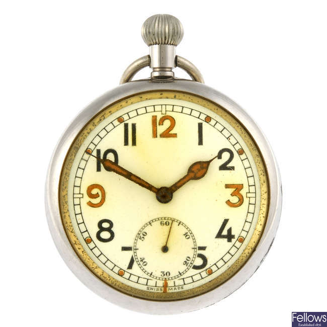 An open face military pocket watch together with another open face military pocket watch
