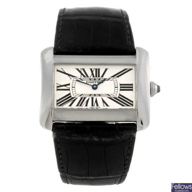 (992034995) CARTIER - a stainless steel Tank Divan wrist watch.