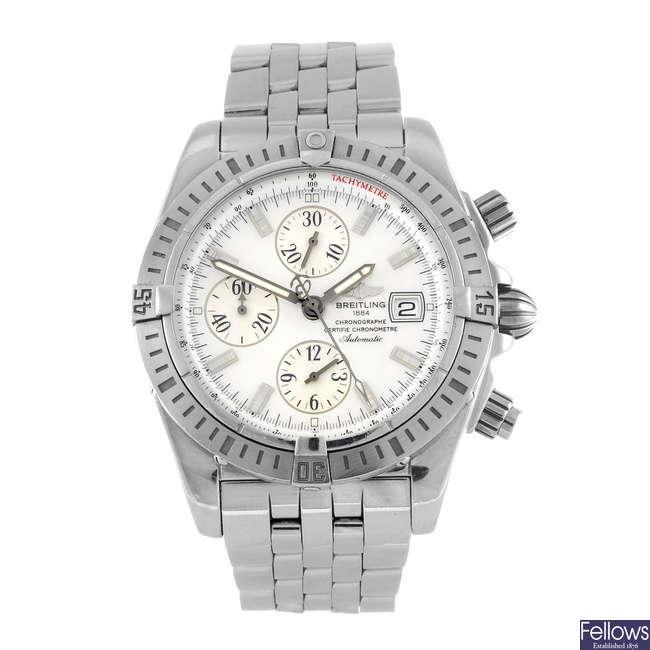 BREITLING - a gentleman's Chronomat Evolution chronograph bracelet watch.