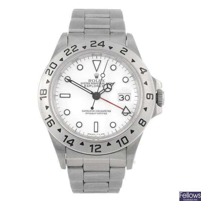 ROLEX - a gentleman's stainless steel Oyster Perpetual Explorer II bracelet watch.