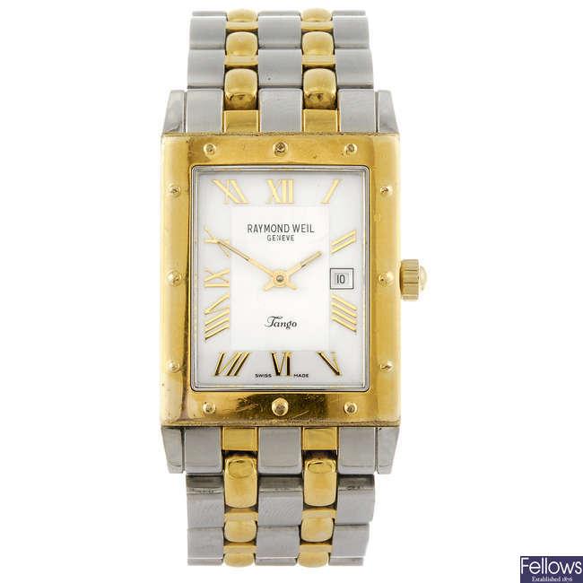 RAYMOND WEIL - a gentleman's bi-colour Tango bracelet watch.