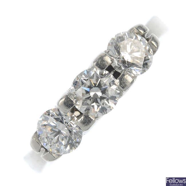 A platinum diamond three-stone ring.