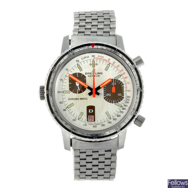 BREITLING - a gentleman's stainless steel Chrono-matic chronograph bracelet watch.