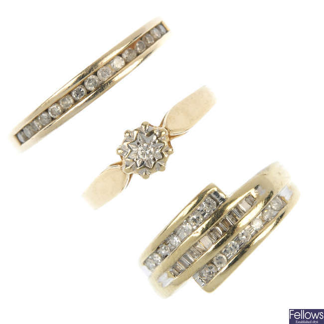 A selection of three 9ct gold diamond rings.