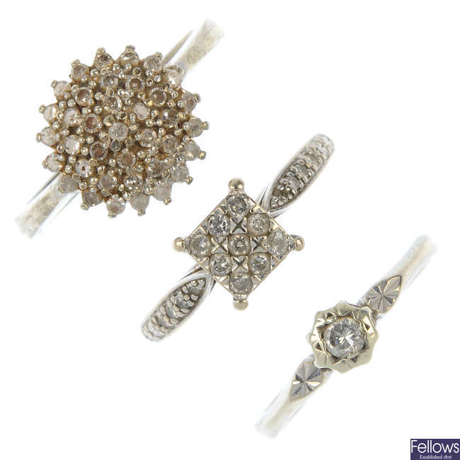 A selection of three diamond rings.