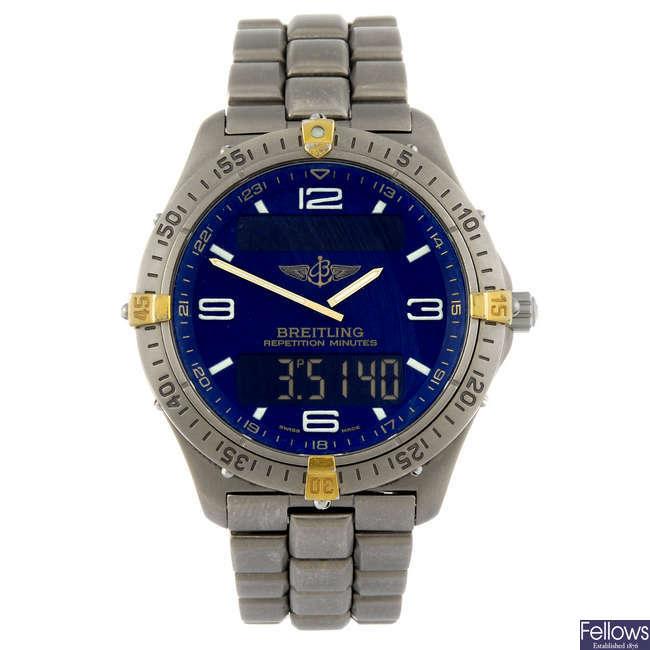(973021394) BREITLING - a gentleman's titanium Aerospace bracelet watch.