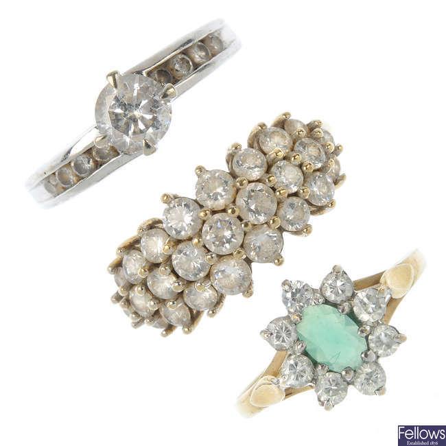 A selection of five gem-set dress rings.