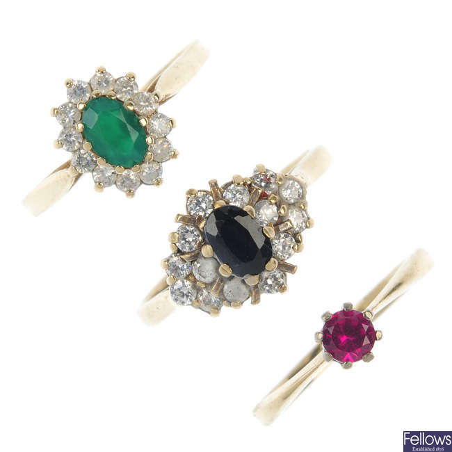 A selection of five dress rings.