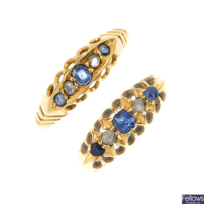 Two Edwardian 18ct gold sapphire and diamond rings.