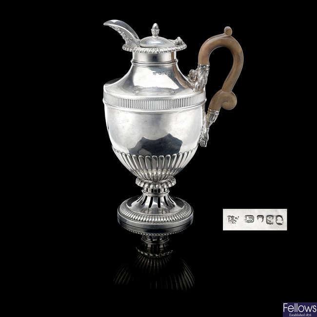 A George III silver hot water pot by Paul Storr.