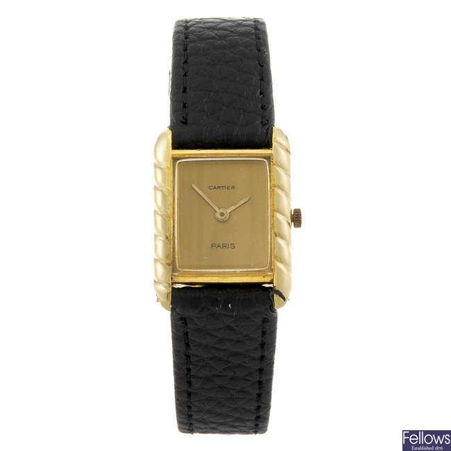 CARTIER - an 18ct gold Tank wrist watch.