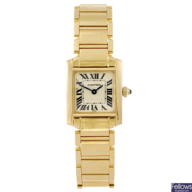 CARTIER - an 18ct yellow gold Tank Francaise bracelet watch.