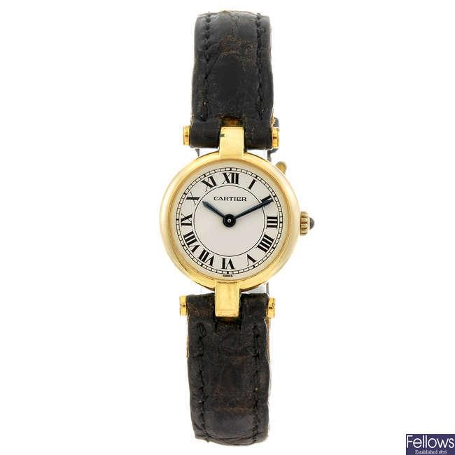 CARTIER - an 18ct gold Vendome wrist watch.