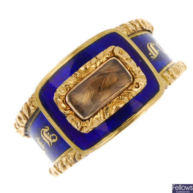 A George IV 18ct gold enamel and hair memorial ring.
