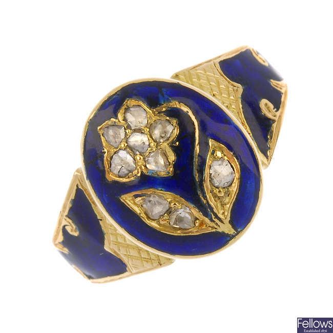 A mid Victorian 18ct gold enamel and diamond floral ring.