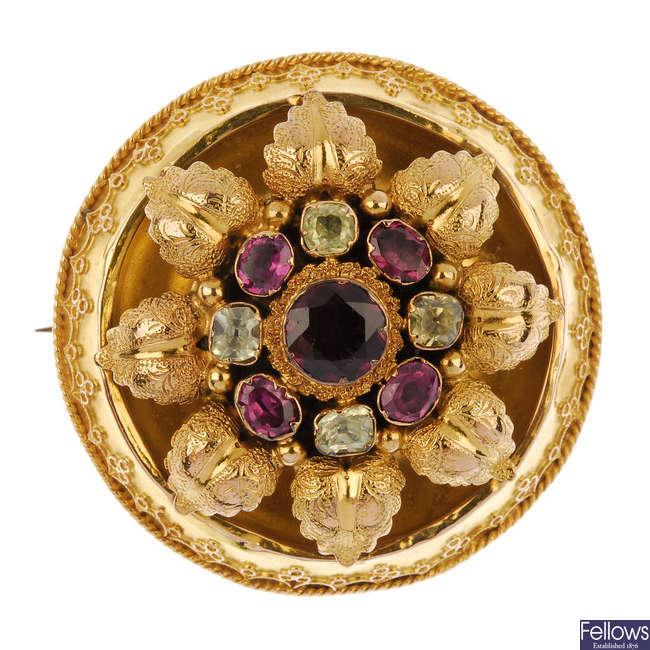 A late Victorian gold gem-set memorial brooch.