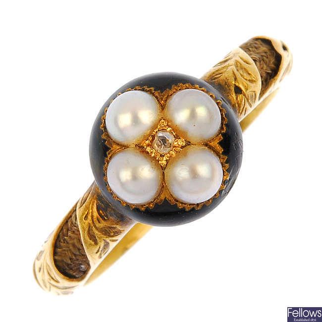 A mid 19th century gem-set diamond enamel and hair memorial ring.