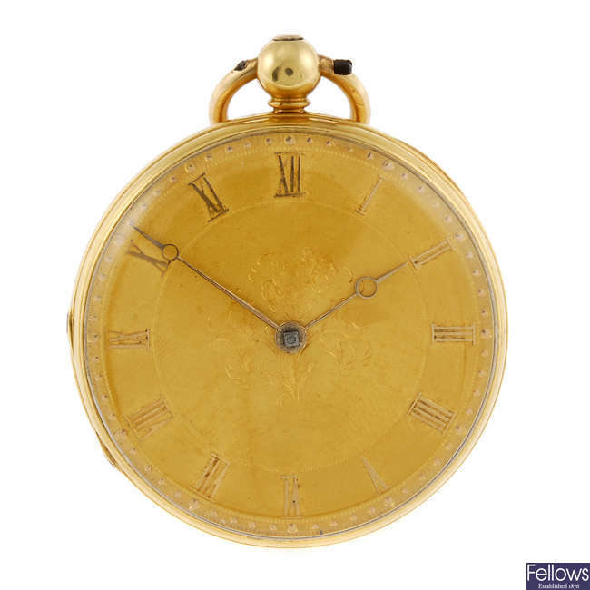 An 18ct yellow gold open face pocket watch by R. Summersgill.