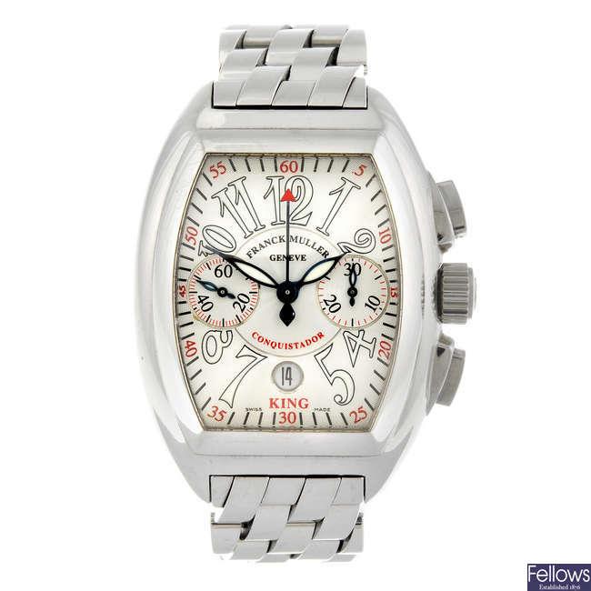 FRANCK MULLER - a gentleman's stainless steel King Conquistador chronograph bracelet watch.