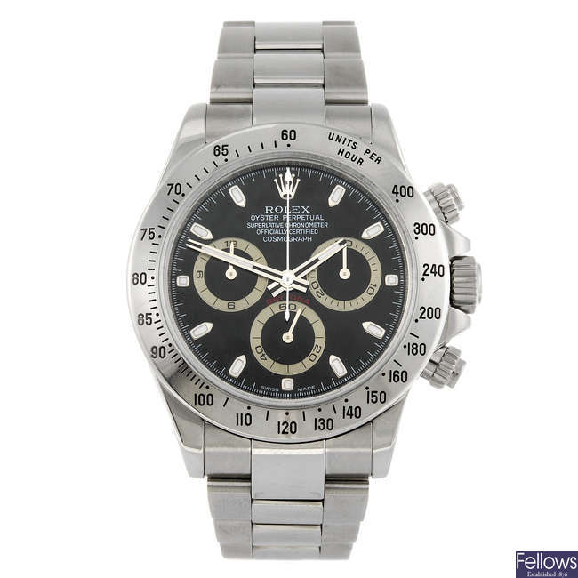 ROLEX - a gentleman's stainless steel Oyster Perpetual Cosmograph Daytona bracelet watch.