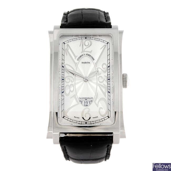 CUERVO Y SOBRINOS - a gentleman's stainless steel Prominente wrist watch.