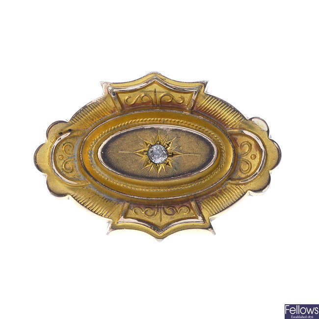A late 19th century 9ct gold and diamond memorial brooch.