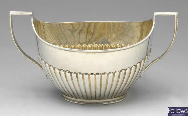 A Victorian twin-handled sugar bowl & a similar cream jug.