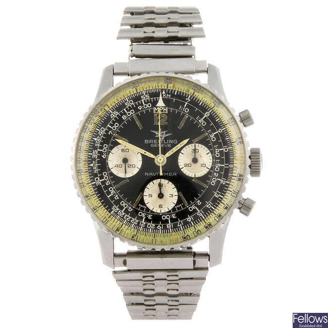 BREITLING - a  gentleman's stainless steel Navitimer 806 chronograph bracelet watch.