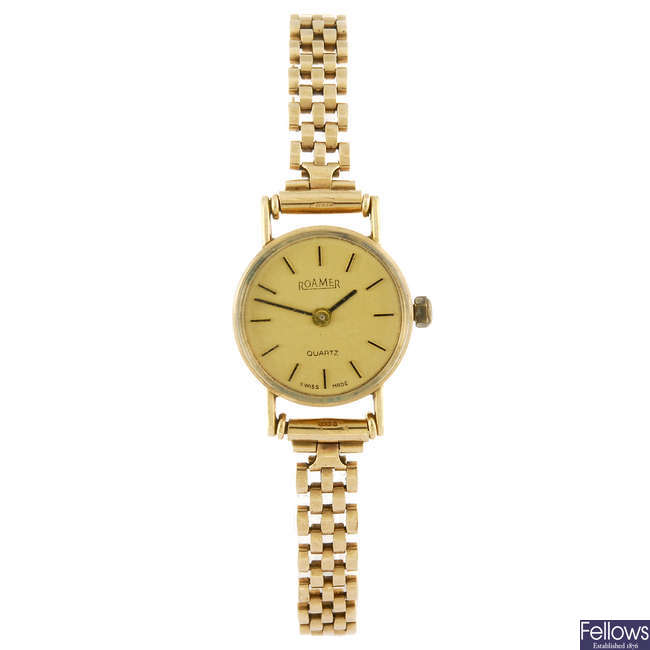 ROAMER - a 9ct gold lady's bracelet watch together with a Tissot, Rotary and Acctim watches.