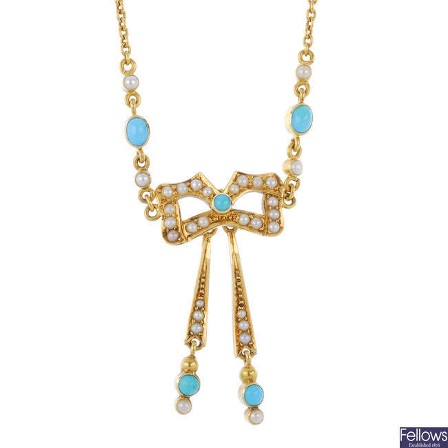 A turquoise and split pearl necklace.