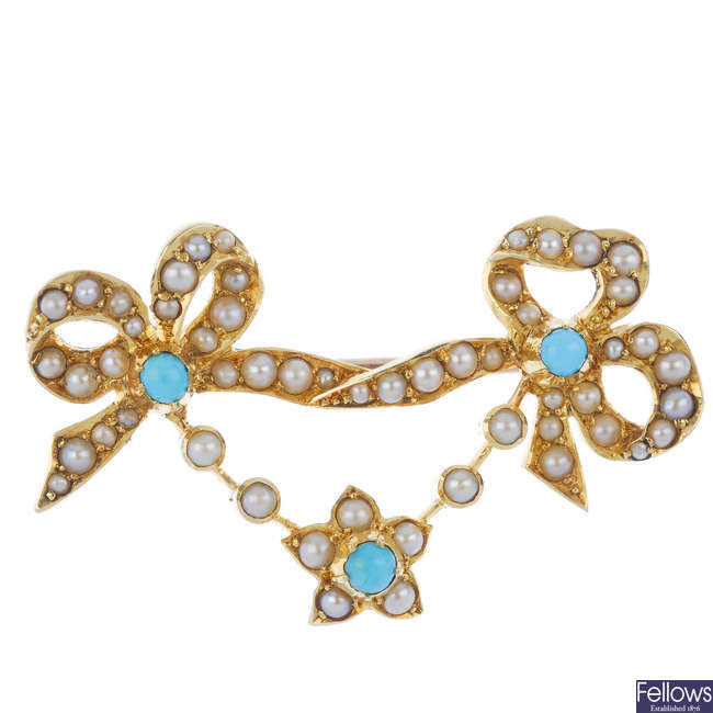 An early 20th century gold turquoise and split pearl brooch.