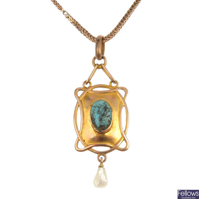 An Edwardian 9ct gold turquoise and pearl pendant.