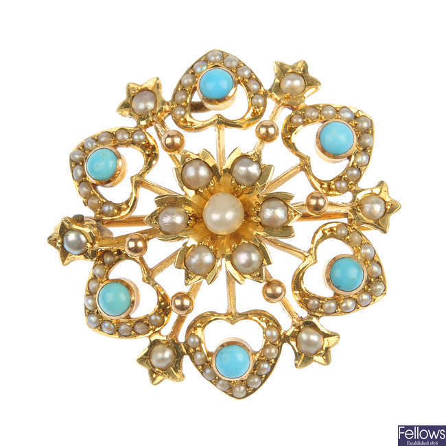 An early 20th century 15ct gold gem-set pendant.