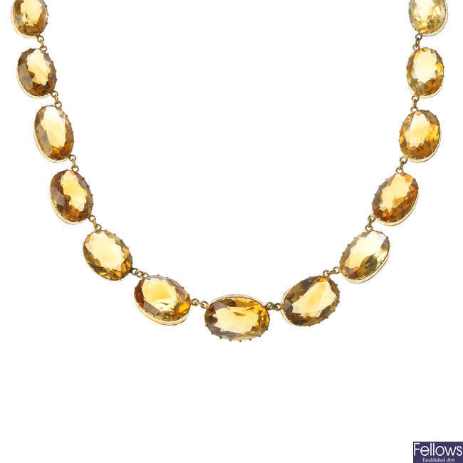 A citrine necklace.