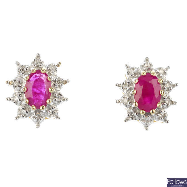 A pair of 9ct gold ruby and diamond cluster ear studs.