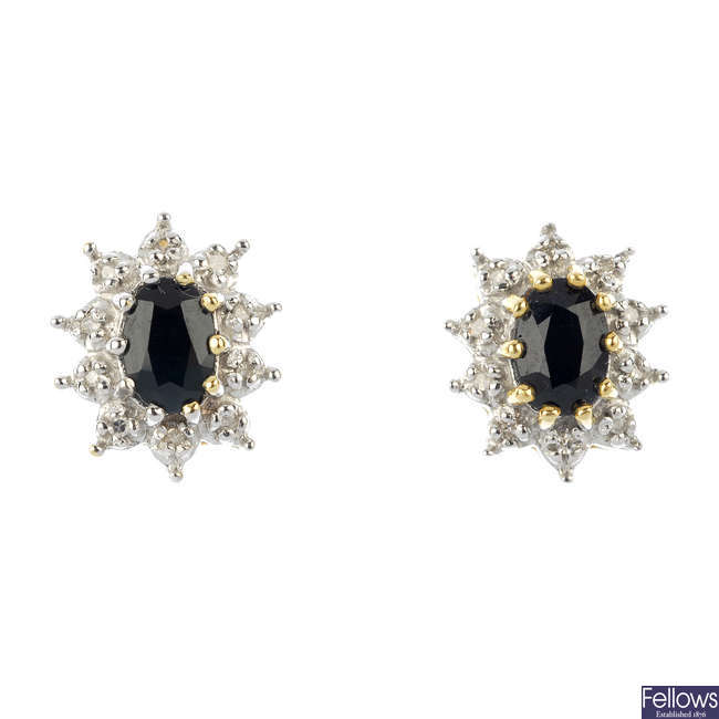 A pair of 9ct gold sapphire and diamond ear studs.
