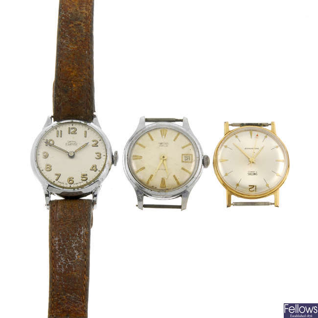 A small group of approximately 10 Smiths wrist watches and watch heads.