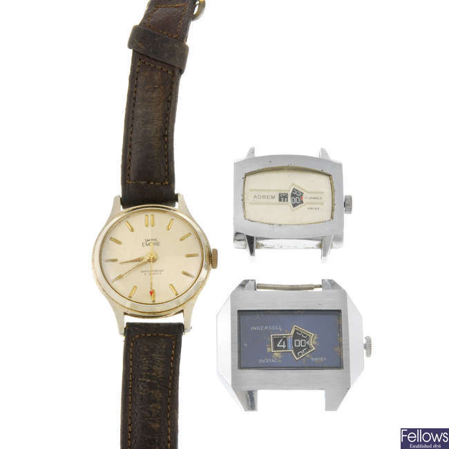 Group of eight various wrist watches, to include five jump hour examples.