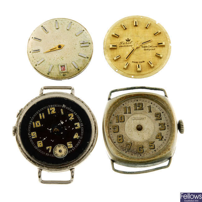 A large selection of various watch movements and parts. Approximately 110.