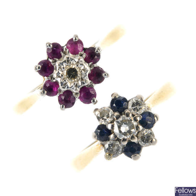 Two diamond and gem-set cluster rings.