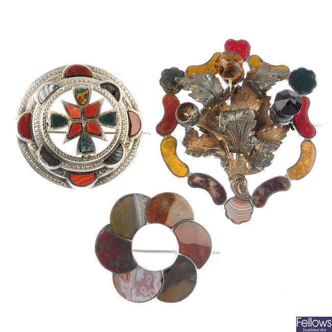 Three late 19th to early 20th century Scottish brooches.