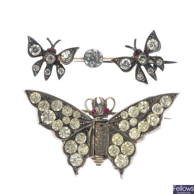Two early 20th century paste brooches.