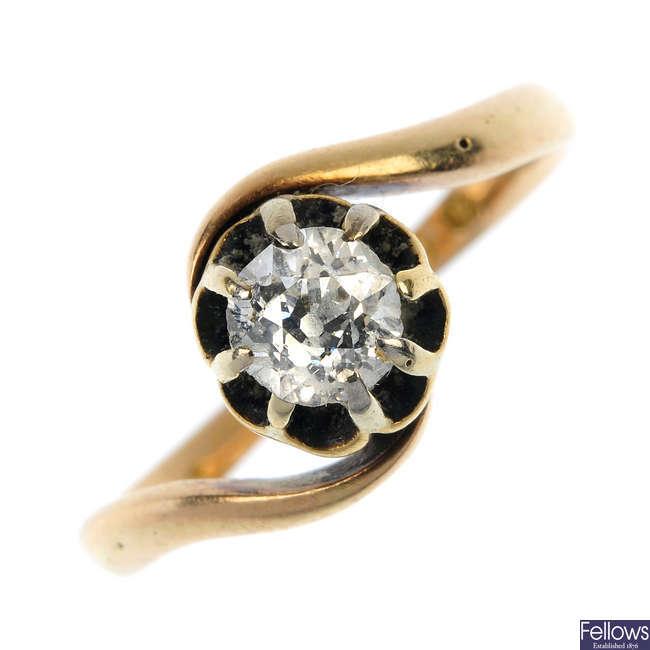 A late Victorian gold diamond single-stone ring.