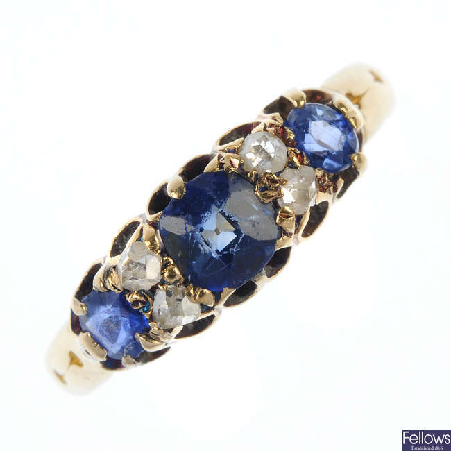 A late Victorian 18ct gold sapphire and diamond ring.